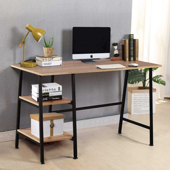 Simple desk with shelves