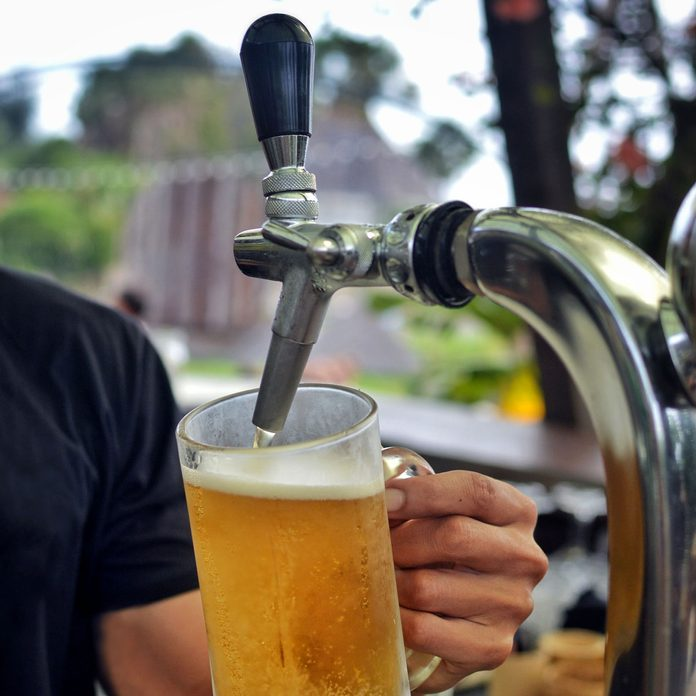 Pouring beer from a kegerator