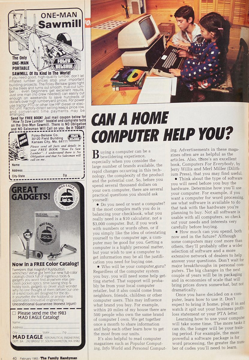 """Vintage Family Handyman magazine spread: """"Can a Computer Help You?"""""""