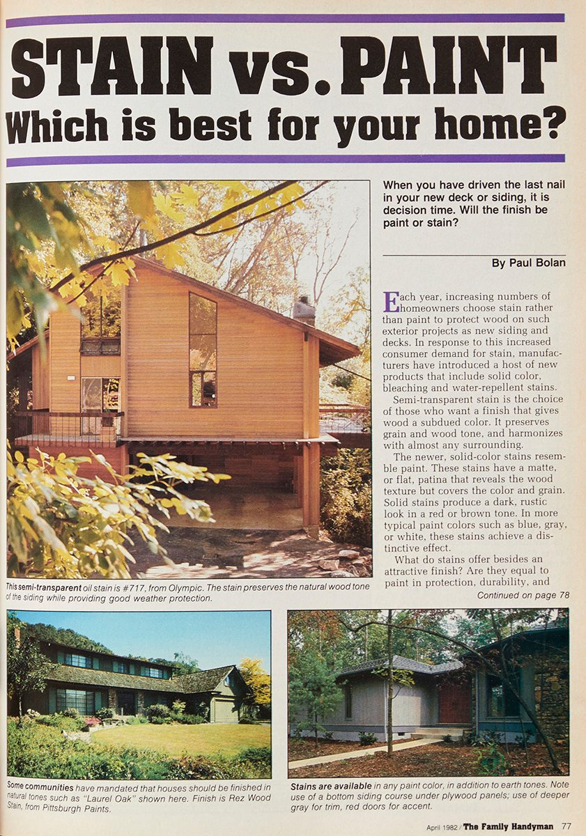 "Vintage Family Handyman magazine spread: ""Stain vs. Paint"""