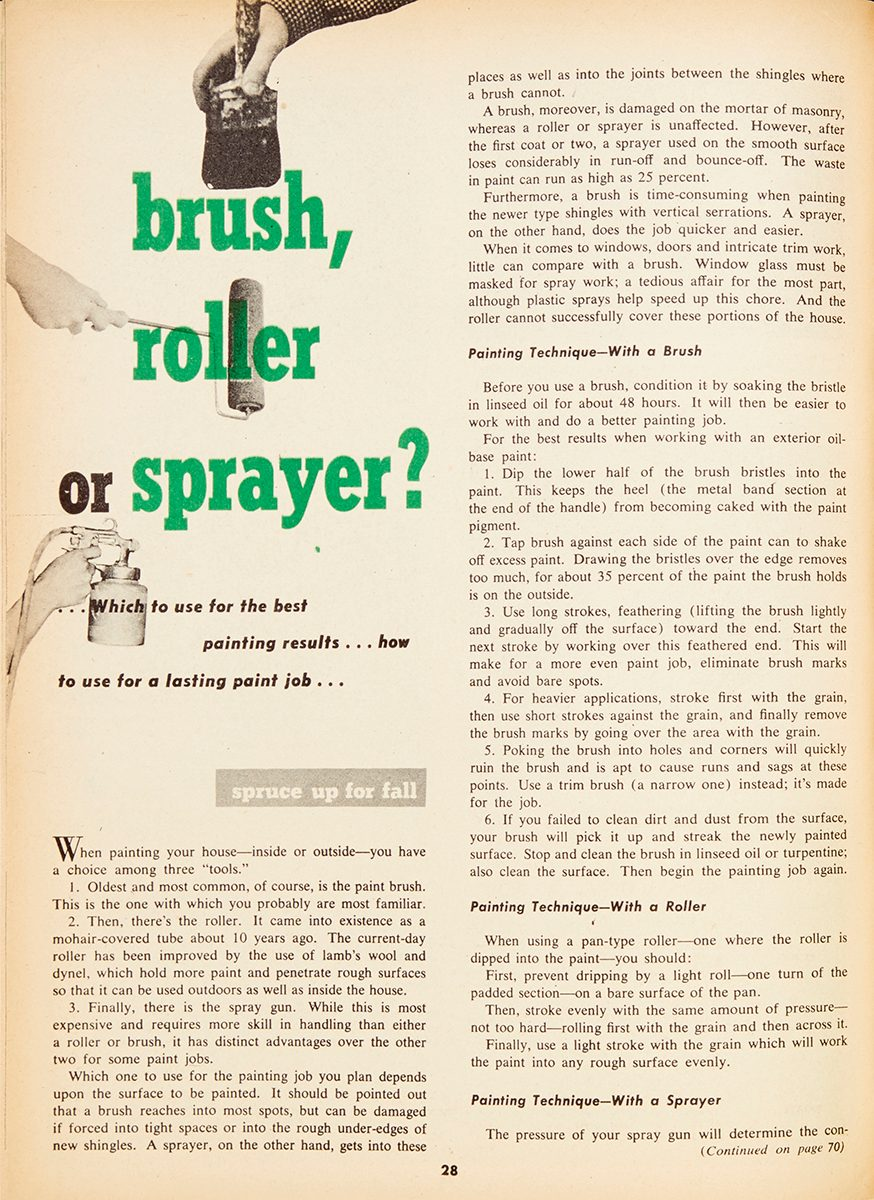 "Vintage Family Handyman magazine spread: ""Brush, Roller or Sprayer?"""
