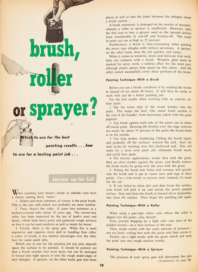 "Vintage Family Handyman magazine spread: ""Brush, Roller or Sprayer?"""