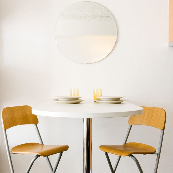 Wood grain chairs with non-wood table