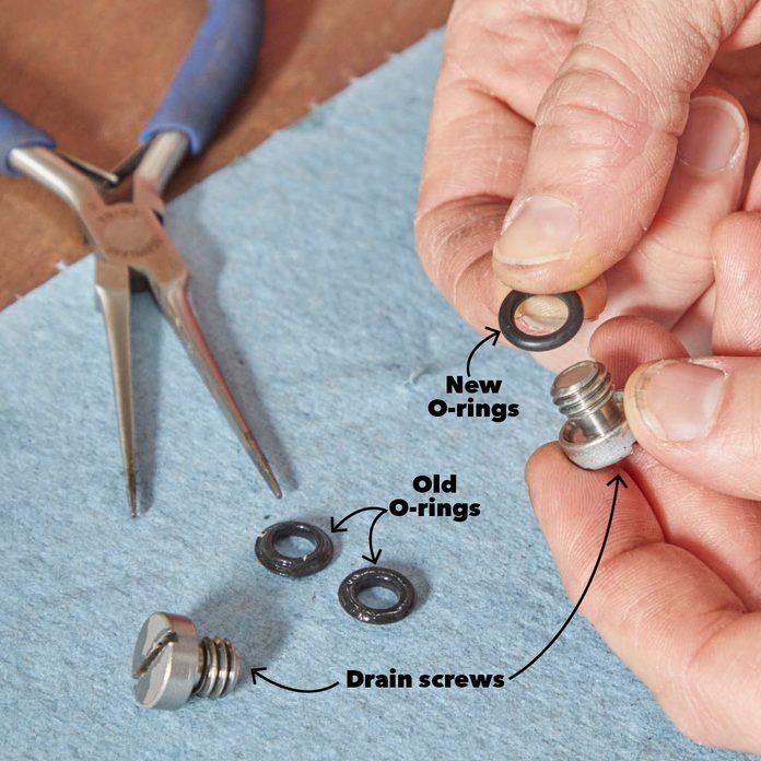 Replace Drain Screw O-Rings