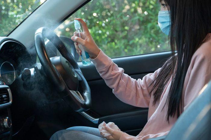 Car disinfection. Coronavirus covid-19.
