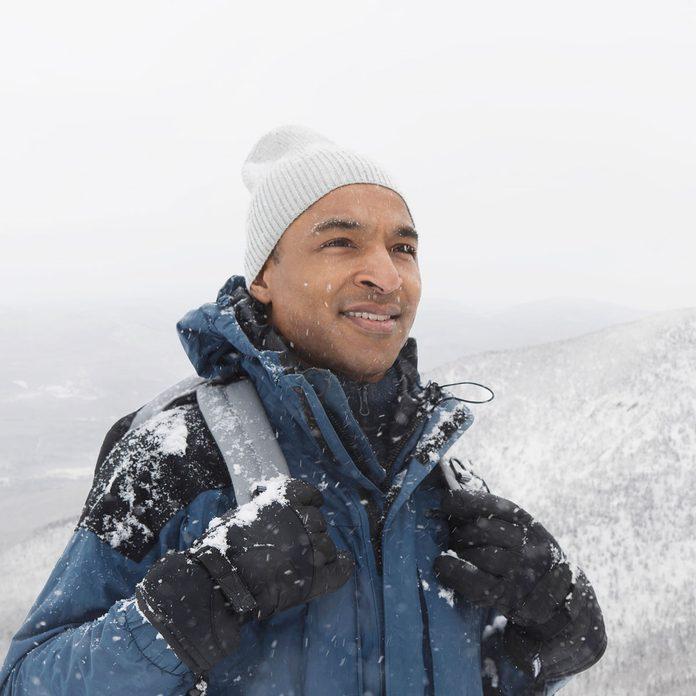 Man wearing a winter jacket