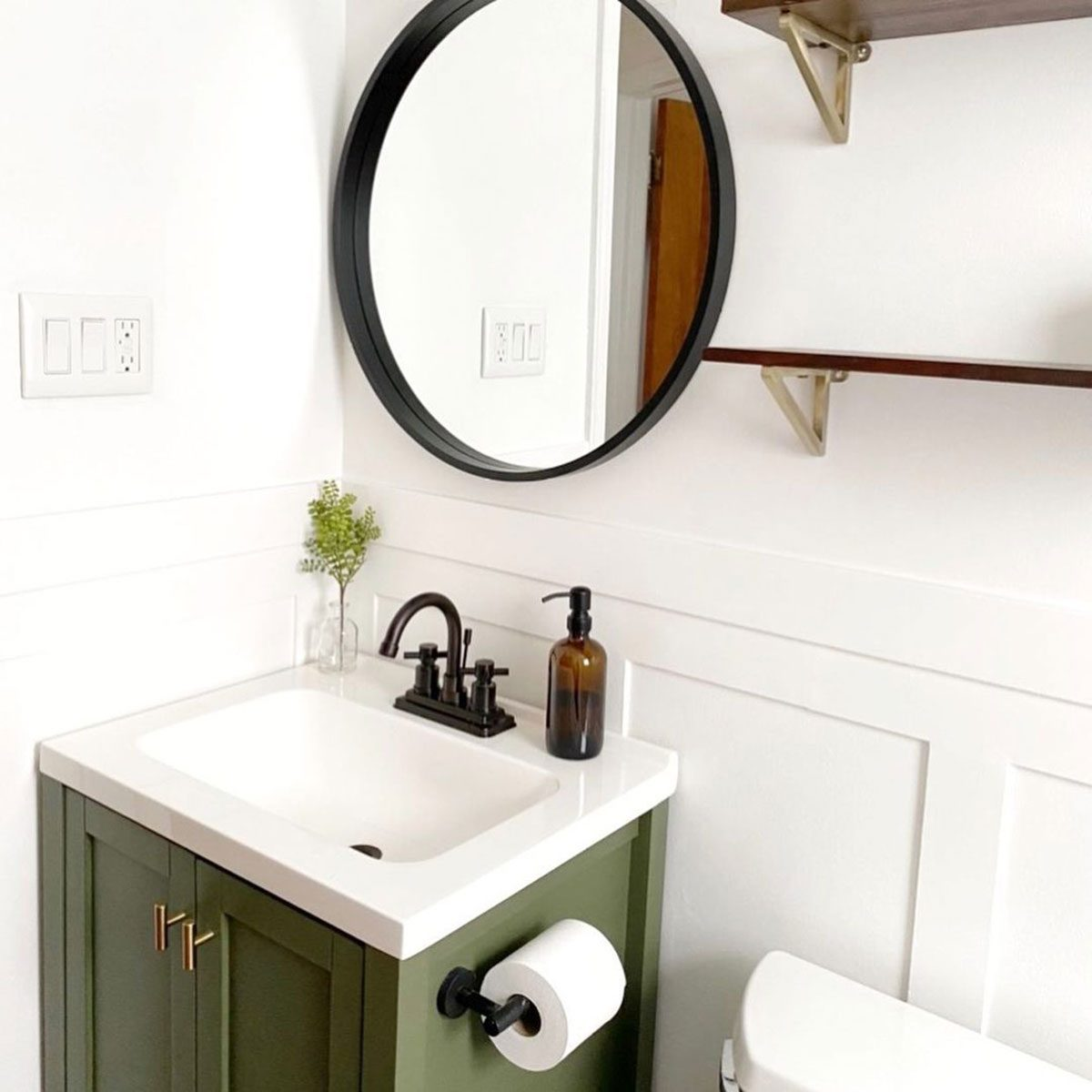 bathroom green vanity