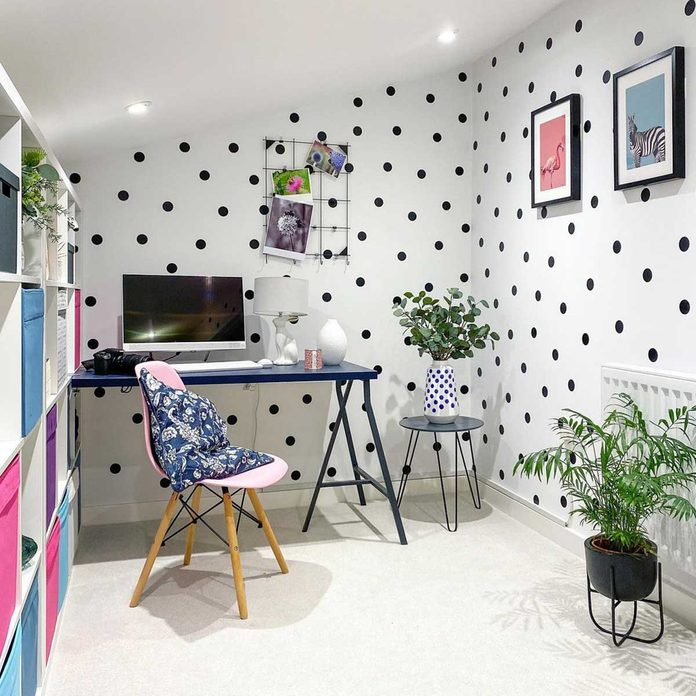 home office with polka dots