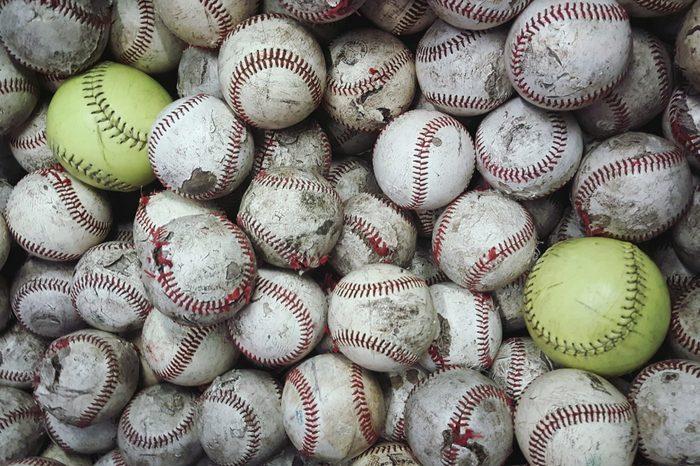 Full Frame Shot Of Baseballs