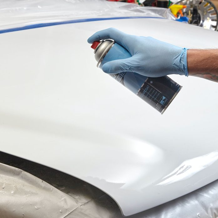 Spray on the Clear Coat Car Repair 8