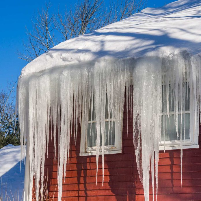 Ice dams on a red house