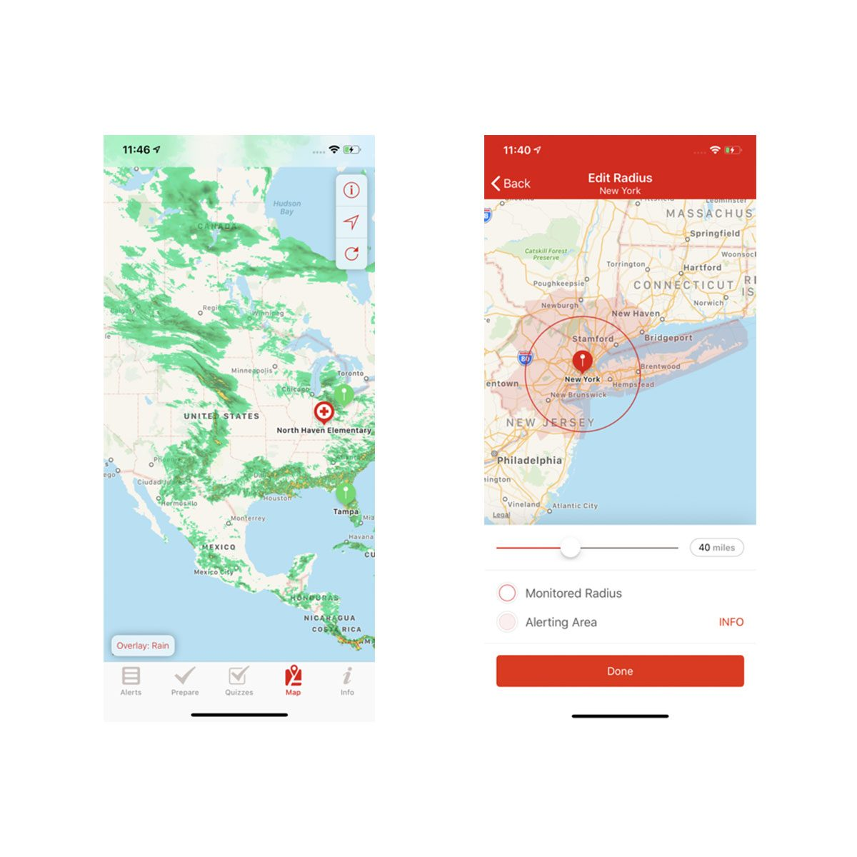 Severe weather app