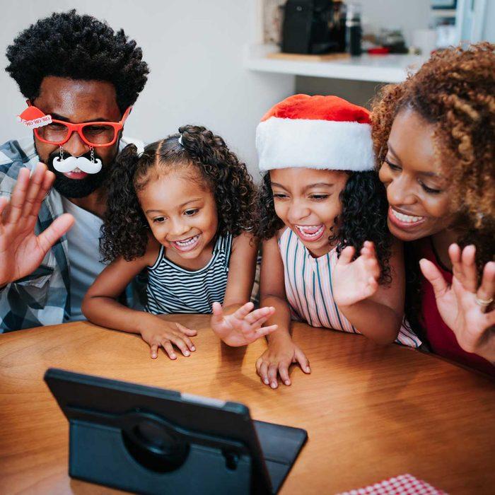 Family celebrating Christmas virtually