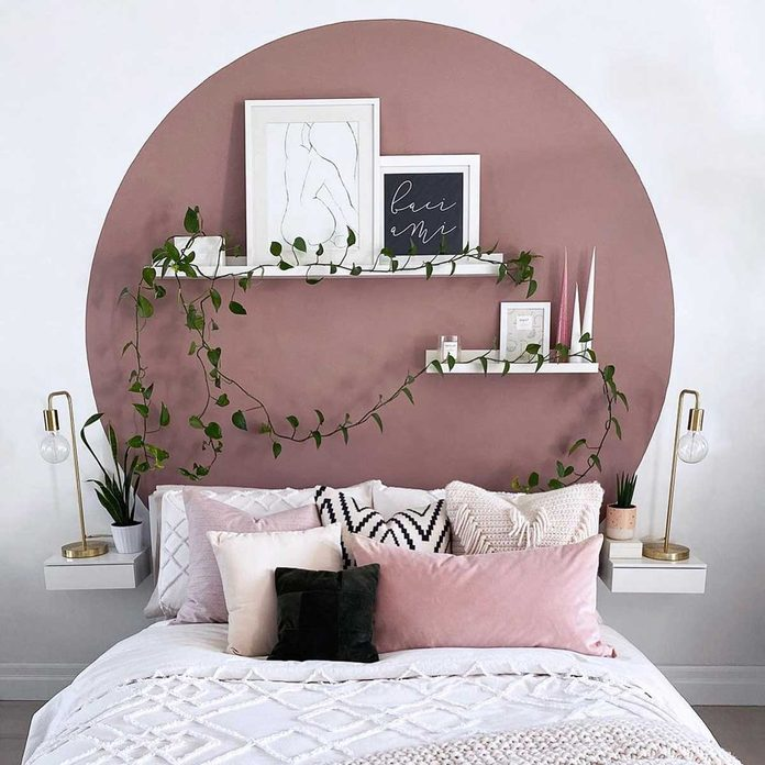 Circle painted on bedroom wall
