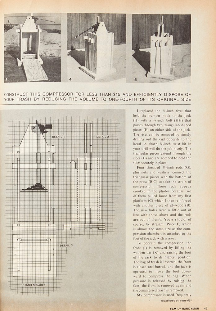 Vintage Family Handyman project page Fh70oct 49 Feature Trash Compressor 1200