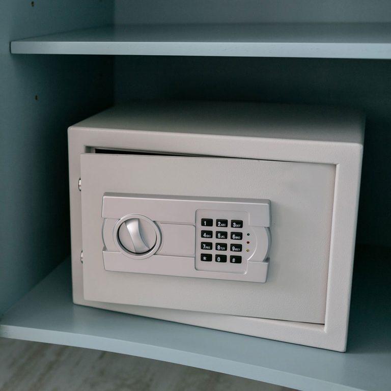 Keypad safe on a shelf