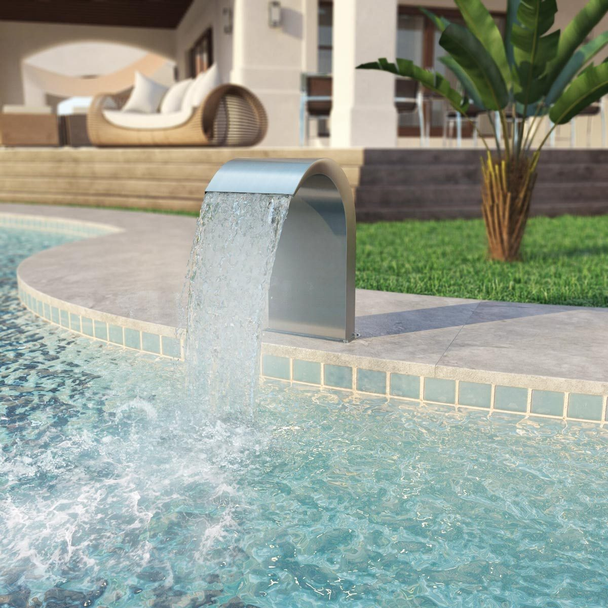 pool water feature Perdomo+stainless+steel+fountain