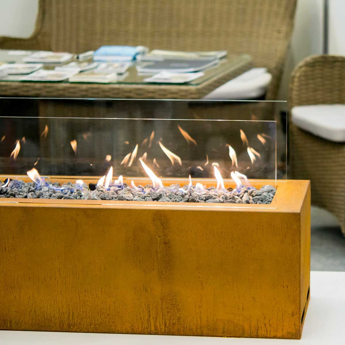 Ethanol Fireplace On Patio Gettyimages 1044391690