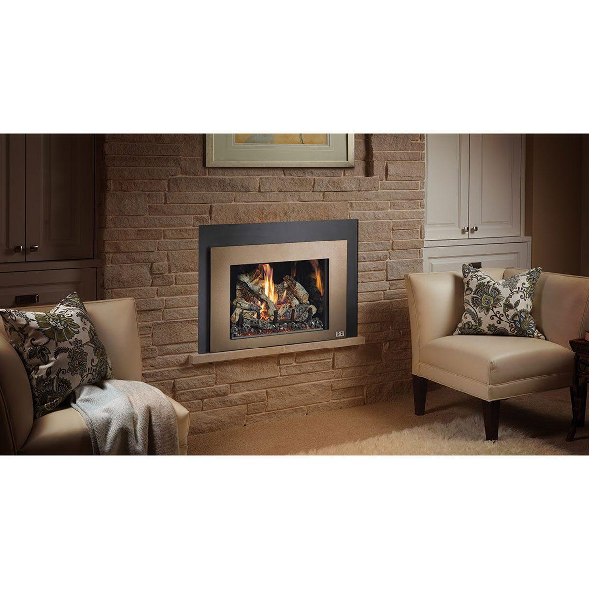 Gas Fireplace Insert 430 Bronzeshadowbox Blkgls Birch Install 1300