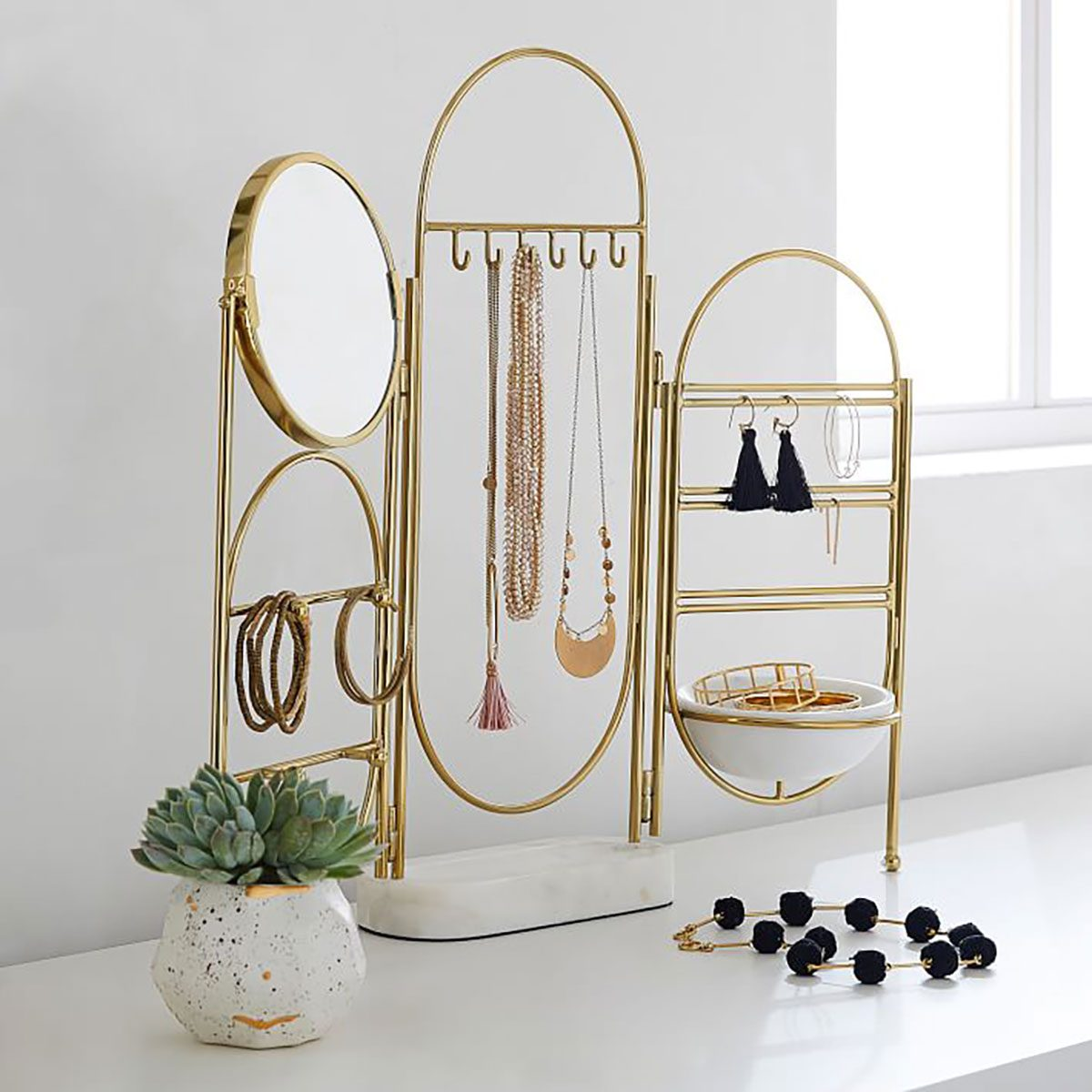 Jewelry Stand Marble And Gold Jewelry Holder Screen O