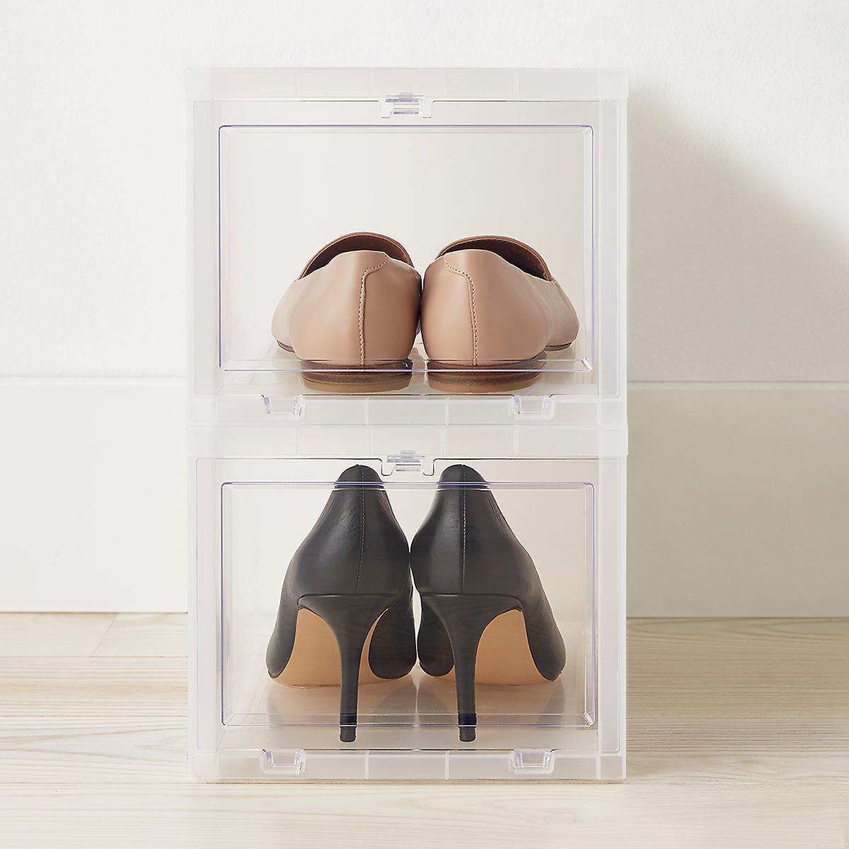Shoe Organier 100770966 Drop Front Shoe Box Case T