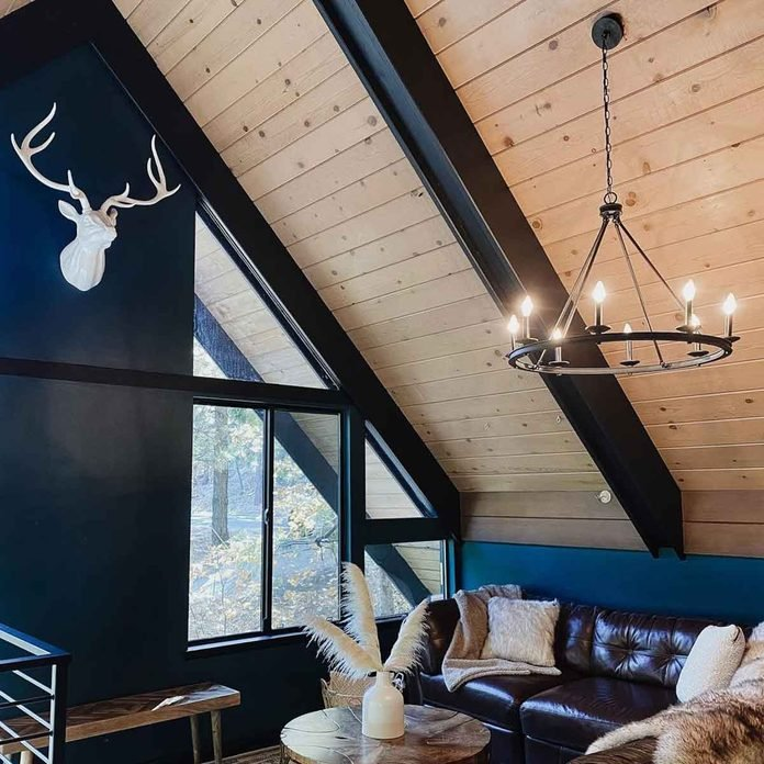 cabin walls wood panel dark paint