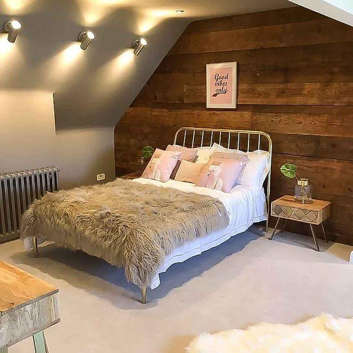 attic bedroom wood panels