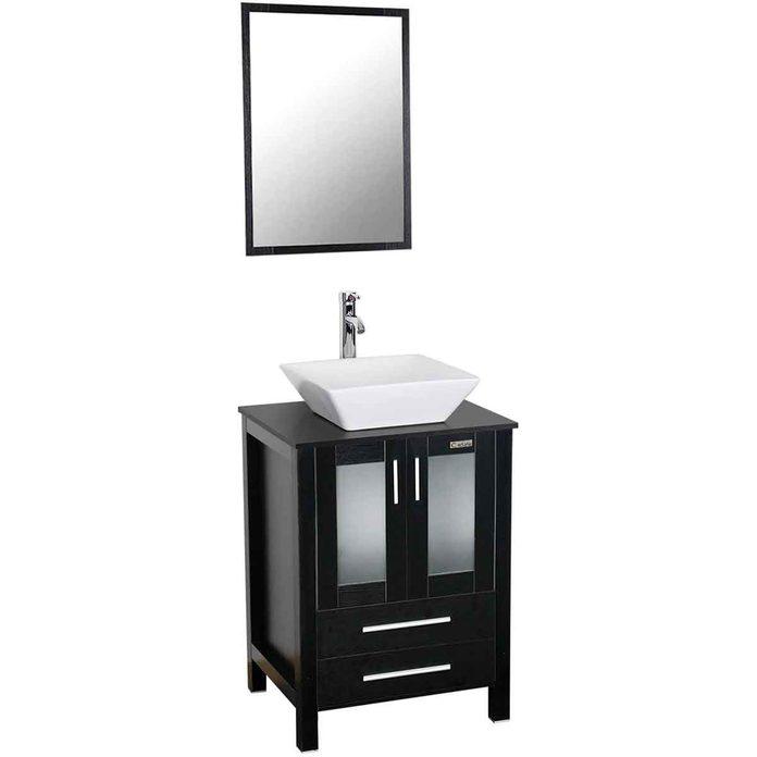 bathroom vanity mirror and sink