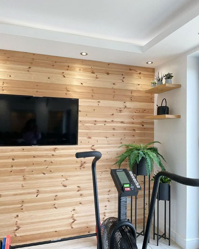 Home Gym Wood Plank Wall