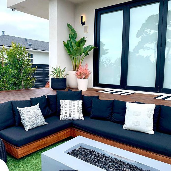 deck decorating with potted plants