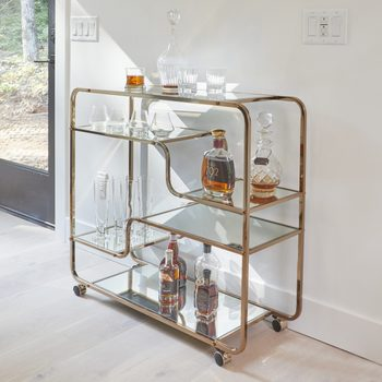 Family Handyman 2021 Getaway Carson Carrington Stovring Champagne Gold Mirrored Bar Cart