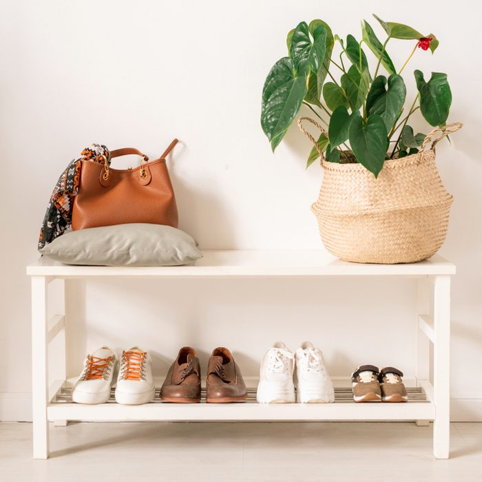 shoe rack in an organized home