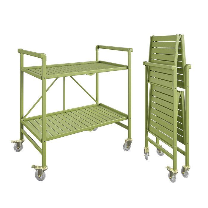 Queer Eye Cleo Slatted Folding Serving Cart Indoor Outdoor Kiwi Green