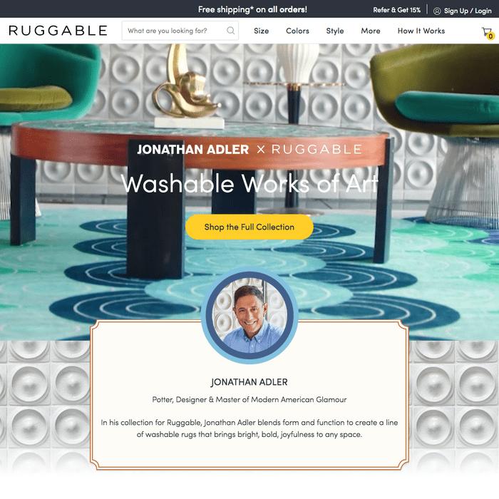 Jonathan Adler X Ruggable website