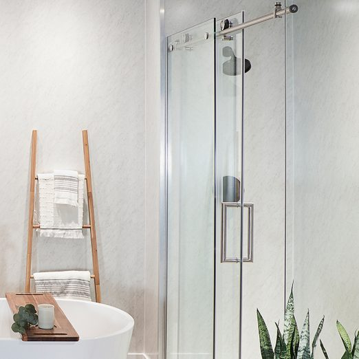 Family Handyman bathroom with installed wall panels