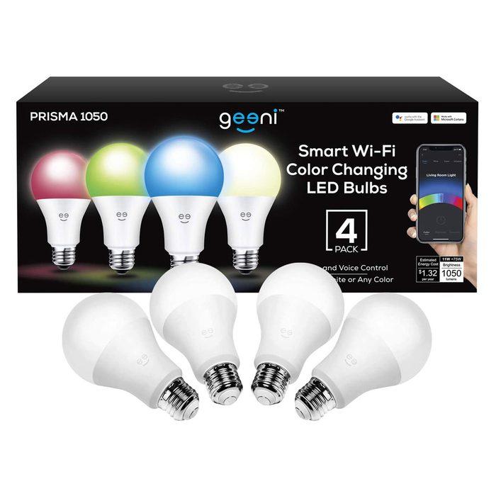 Geeni Prisma 1050 Lumens A21 Wi Fi Multicolor Light Bulbs 2700k 4 Pack Dimmable Led Bulbs 75 Watt Equivalent Via Amazon.com