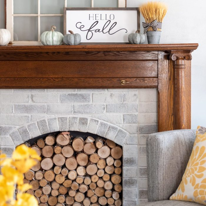 Hello fall sign on the mantel - autumn style for the home