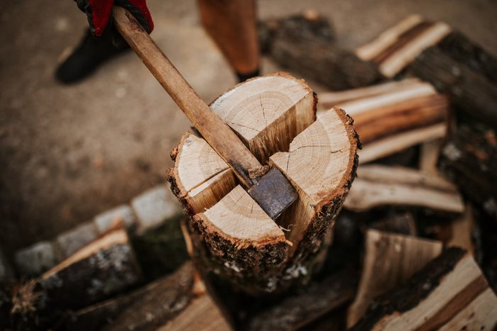 Close up of firewood splitting on four
