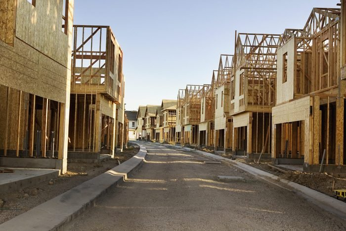 Road through residential construction site