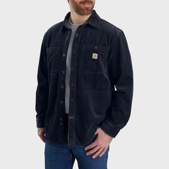 Loose Fit Heavyweight Corduroy Jersey Lined Long Sleeve Shirt