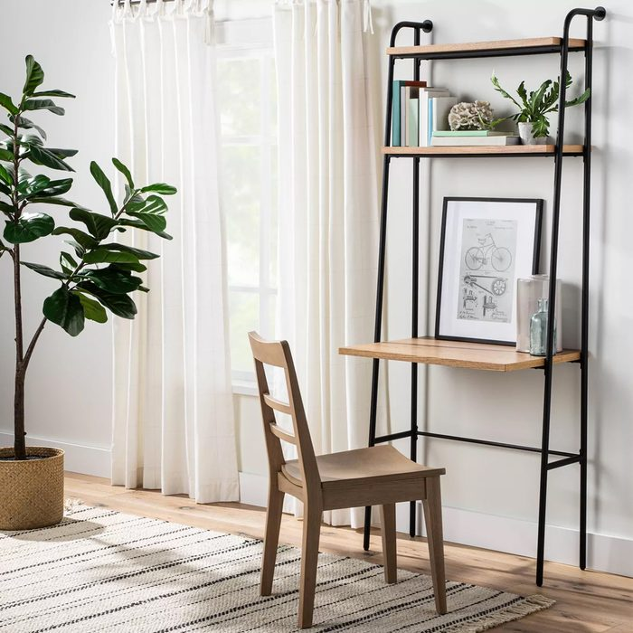 Wood Bookshelf With Desk