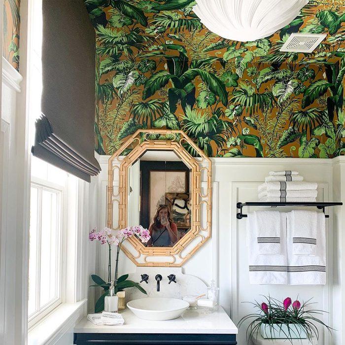 Ceiling Wallpaper in bathroom